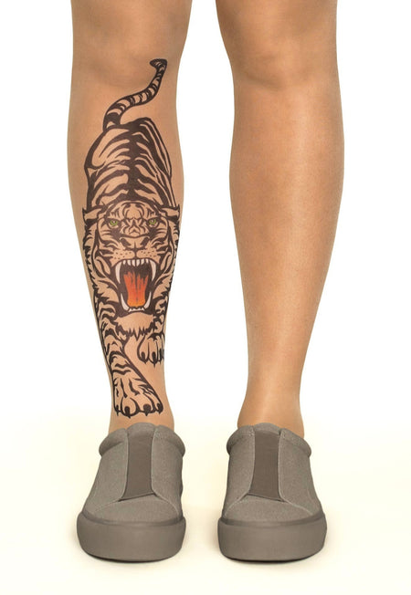 Royal Lotus Tattoo Sheer Tights
