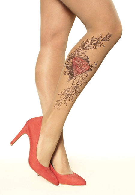 Purple Orchids Tattoo Sheer Tights