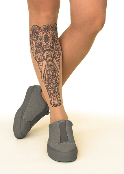 Indian Elephant tattoo printed hhold-ups, tights & pantyhose