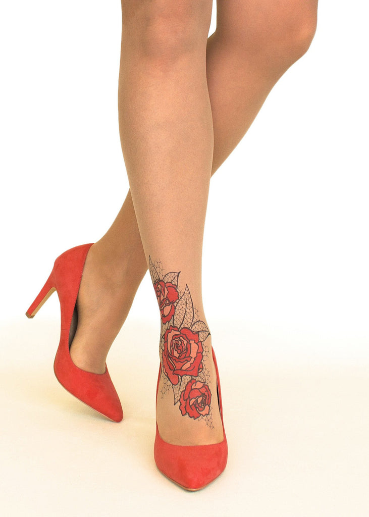 Red Lace Roses tattoo printed tights & pantyhose