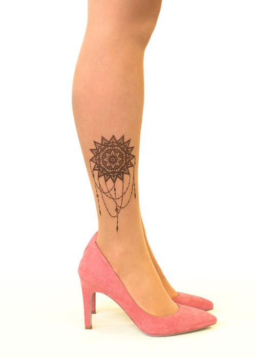 Mandala Sun tattoo printed tights & pantyhose