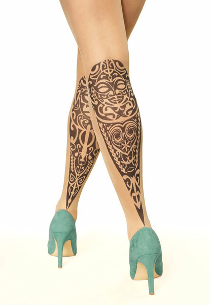 Maori design tattoo printed hold-ups, tights & pantyhose