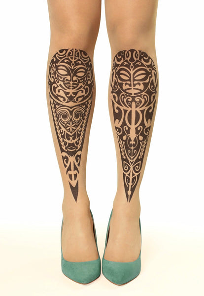 Maori design tattoo printed tights & pantyhose