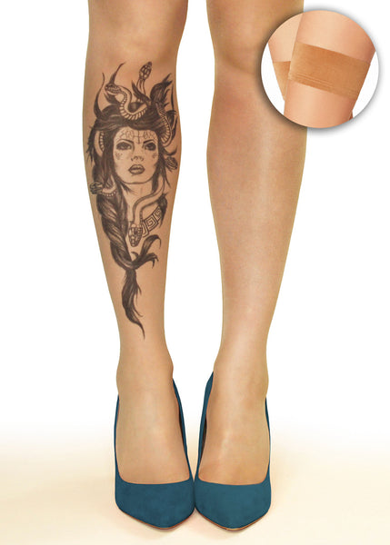 Medusa Head Tattoo Printed Hold-ups, Tights & Pantyhose