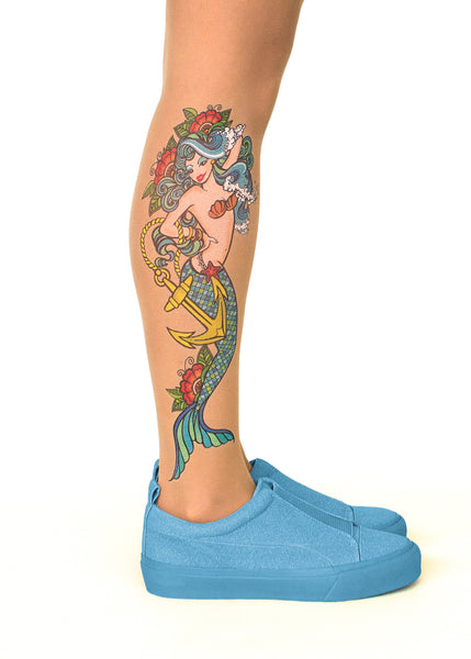 Mermaid Spell tattoo printed tights & pantyhose