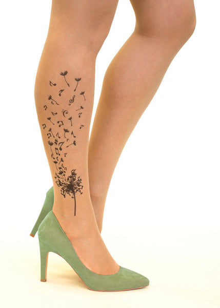 Musical Dandelion tattoo printed tights & pantyhose