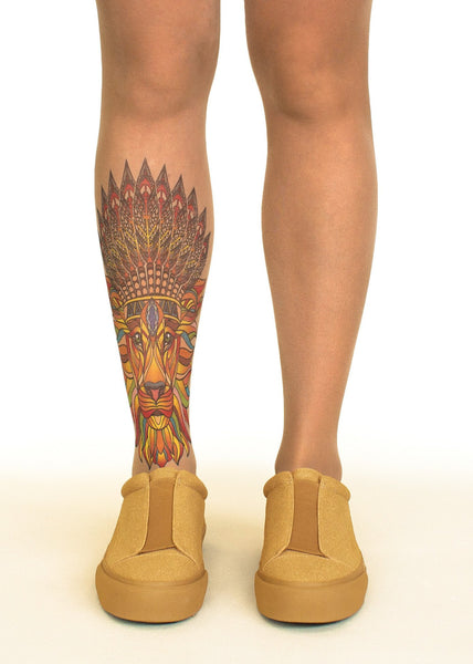 Native King tattoo printed tights & pantyhose