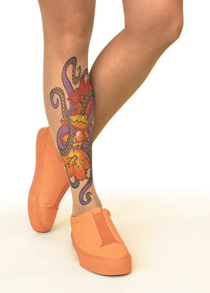 Octopus Embrace tattoo printed hold-ups, tights & pantyhose