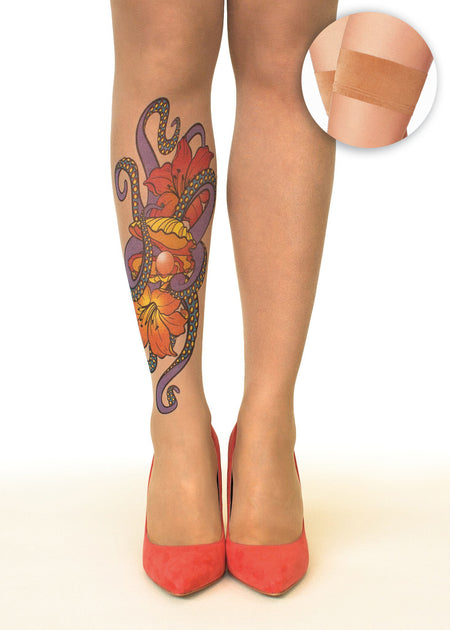 Winter Blooms Tattoo Sheer Hold-Ups