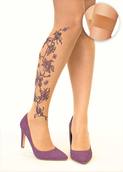 Purple Orchids tattoo printed hold-ups, tights & pantyhose