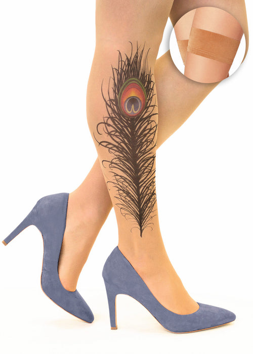Peacock Feather tattoo printed hold-ups, tights & pantyhose