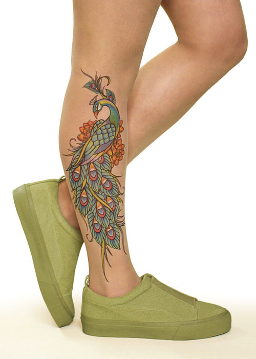Peacock Charm Tattoo Printed Tights & Pantyhose