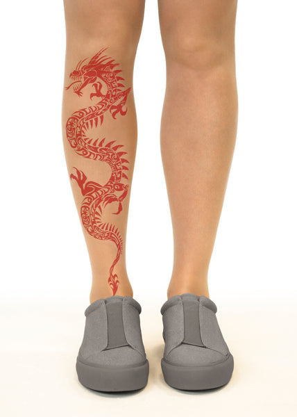Red Dragon Tattoo Printed Tights & Pantyhose