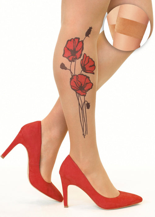 Red Poppies tattoo printed hold-ups, tights & pantyhose