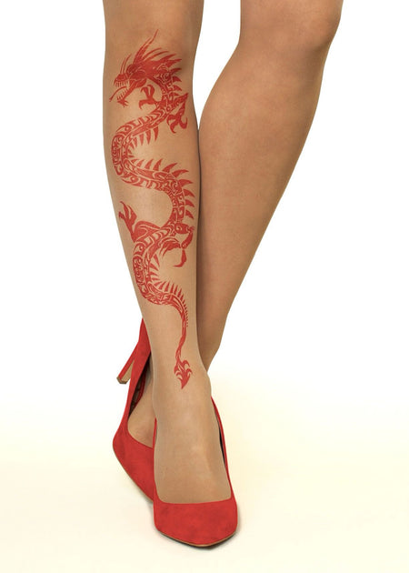 Branching Crow Tattoo Sheer Tights