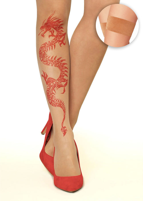 Red Dragon Tattoo Printed Hold-ups, Tights & Pantyhose