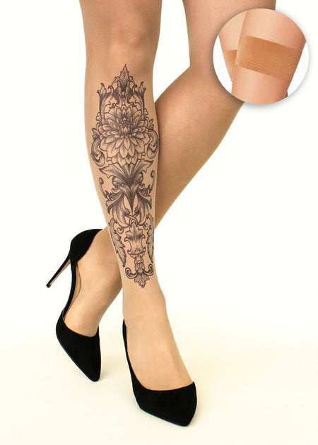 Sugar Skull Tattoo Sheer Hold-Ups