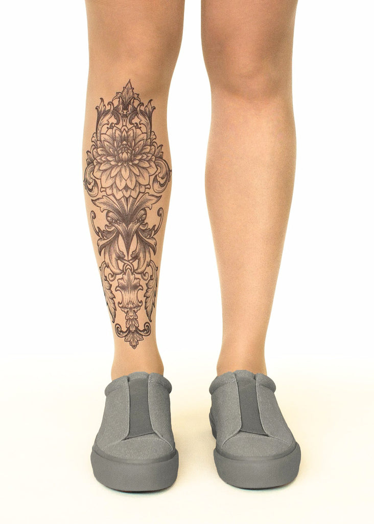 Royal Lotus tattoo printed tights & pantyhose