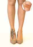 Shaded Rose foot tattoo printed hold-ups, tights & pantyhose