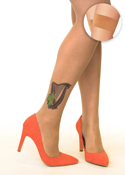 Irish Harp & Shamrock tattoo printed hold-ups, tights & pantyhose