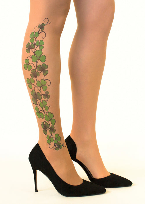 Irish Shamrock Vine tattoo printed tights & pantyhose