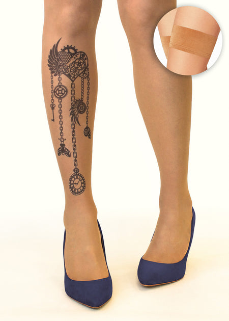 Irish Harp & Shamrock Tattoo Sheer Hold-Ups