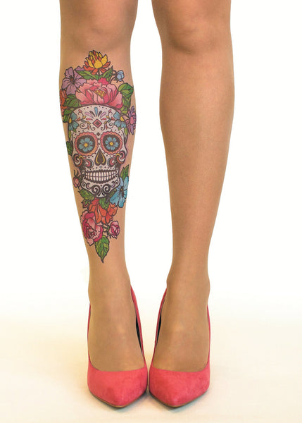 Sugar Skull tattoo printed hold-ups, tights & pantyhose