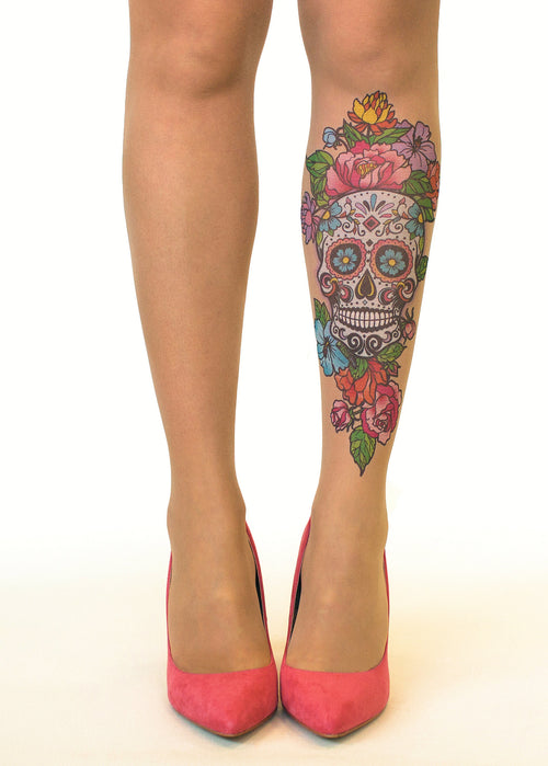 Sugar Skull tattoo printed tights & pantyhose