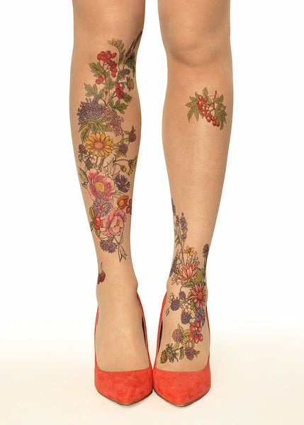 Summer Garden Flowers & Berries Tattoo Printed Tights/Pantyhose