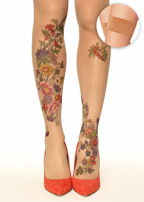 Summer Garden Flowers & Berries Tattoo Printed hold-ups, tights & pantyhose