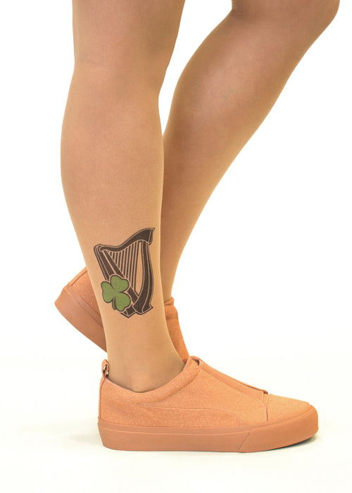 Irish Harp & Shamrock tattoo printed tights & pantyhose
