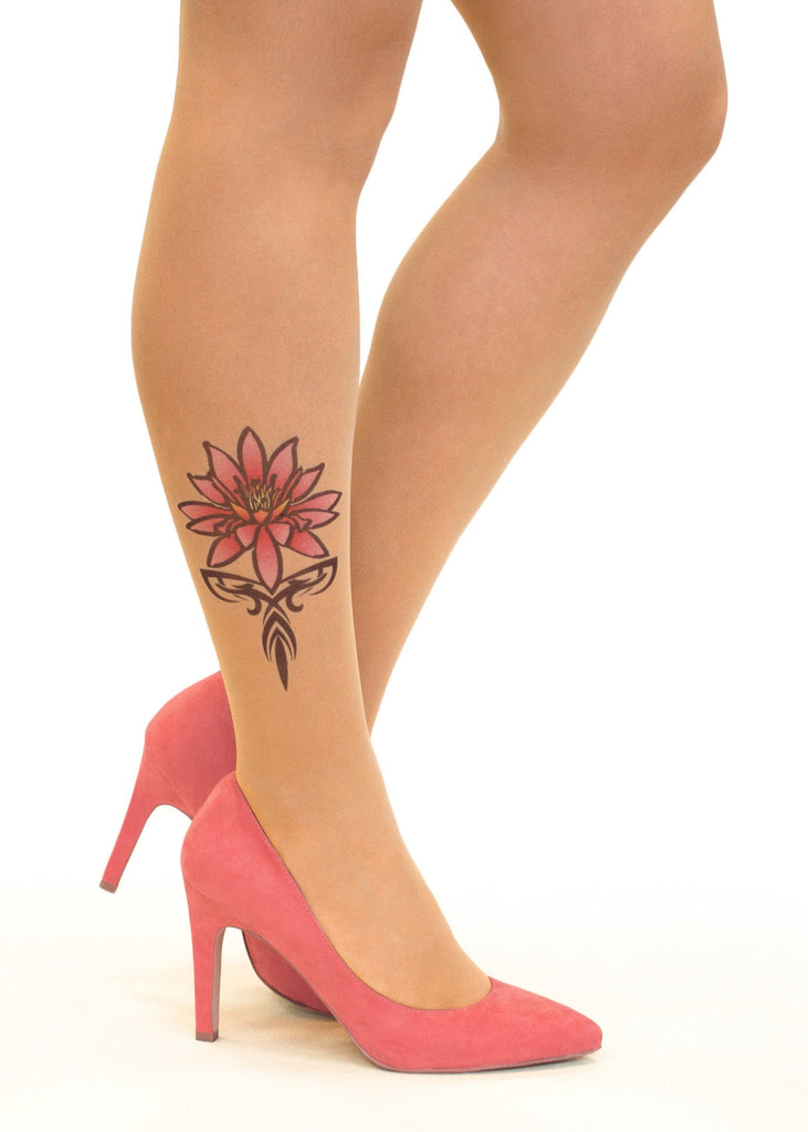 Pink Tribal Water Lily tattoo printed tights & pantyhose