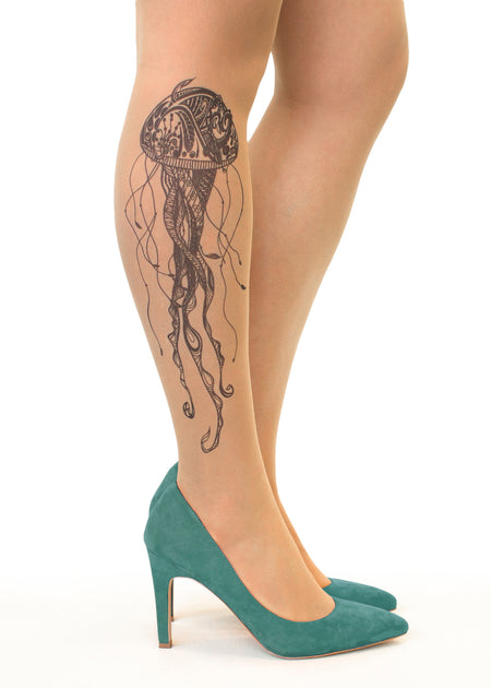 Summer Garden Tattoo Sheer Tights