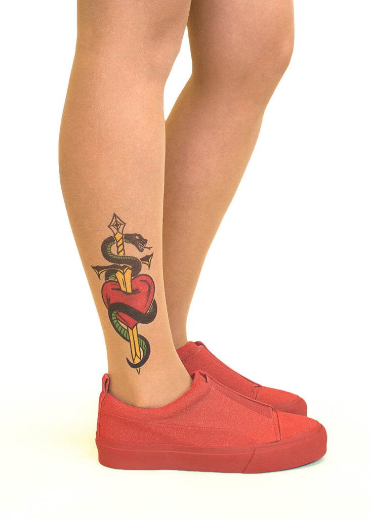 Heart, Dagger & Snake tattoo printed tights & pantyhose