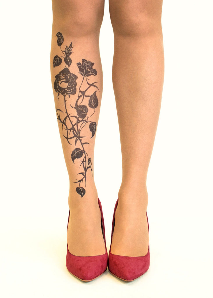 Black Roses tattoo printed tights & pantyhose