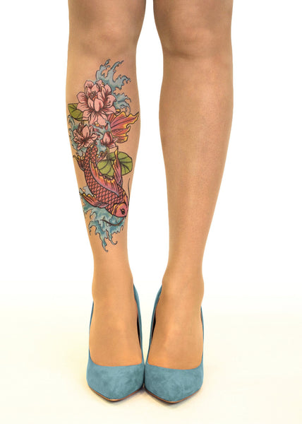 Koi Fish N' Flowers tattoo printed tights & pantyhose