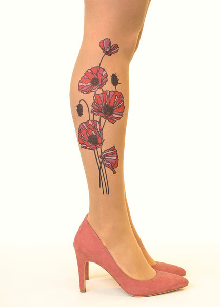 Red Tricolour Poppies tattoo printed tights & pantyhose