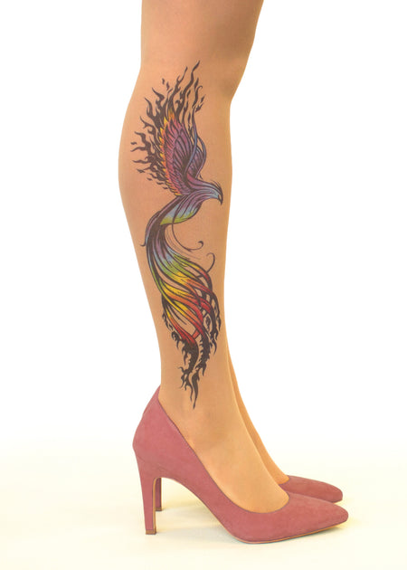 Koi Fish & Dragon Tattoo Sheer Tights