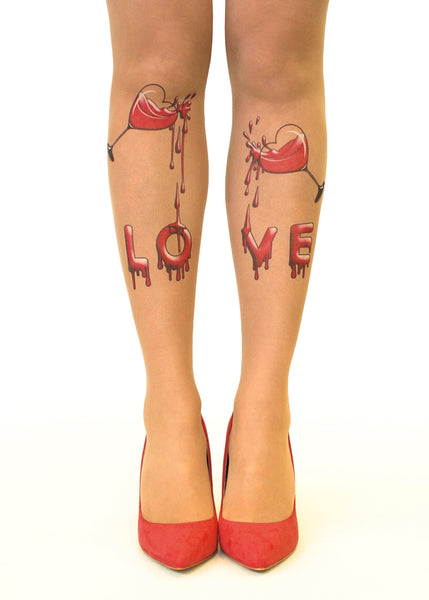 Drinking Love Tattoo Printed Hold-Ups, Tights & Pantyhose