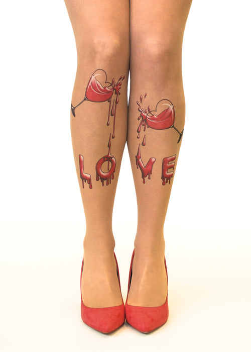 Drinking Love Tattoo Sheer Tights