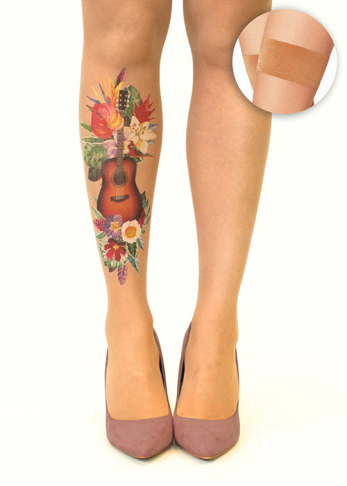 Tropical Guitar tattoo printed hold-ups, tights & pantyhose