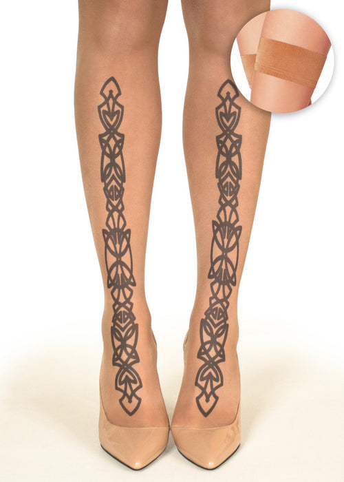 Twin Irish Celtic Design tattoo printed hold-ups, tights & pantyhose