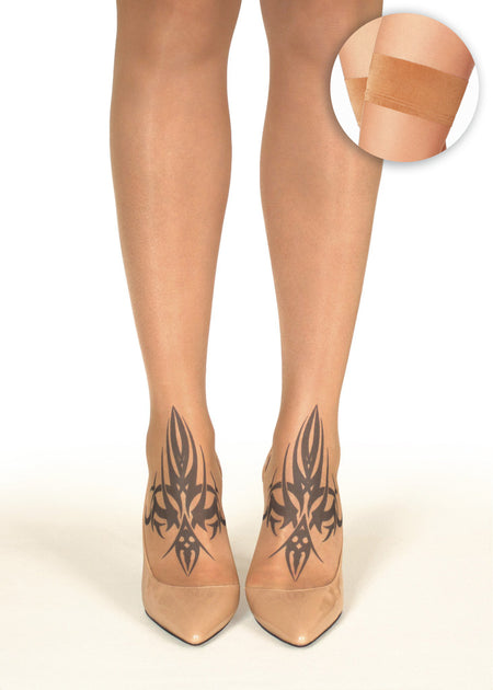 Peacock Feather Tattoo Sheer Hold-Ups