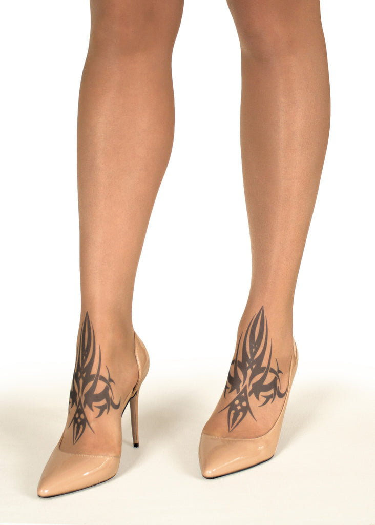 Twin Tribal tattoo printed tights & pantyhose