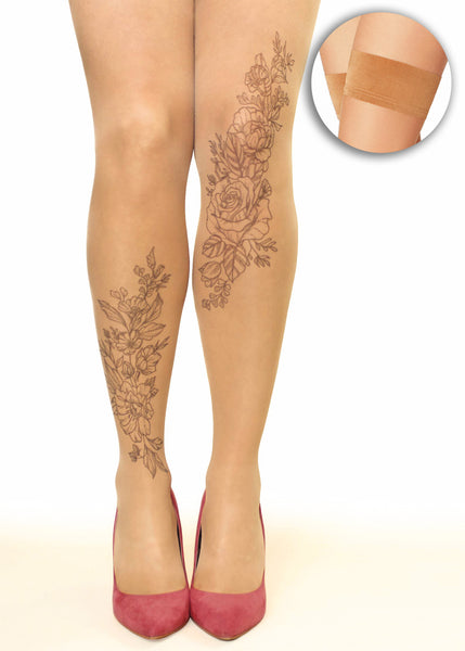 Vintage Floral Monochrome Flowers Tattoo Printed Hold-ups, Tights/Pantyhose