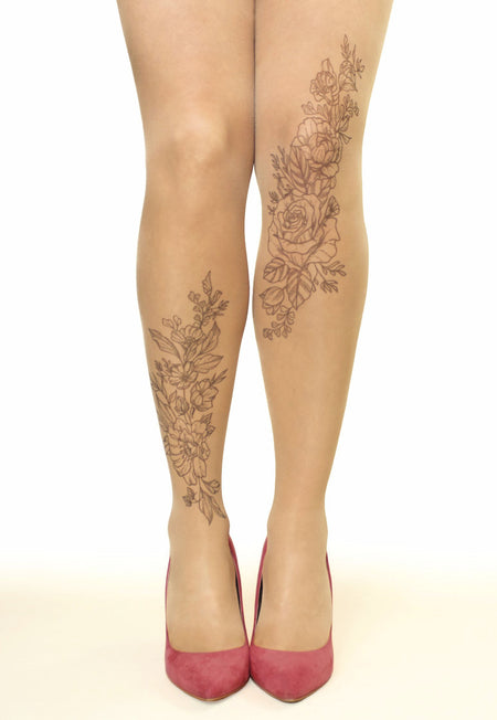 Pink Tribal Water Lily Tattoo Sheer Tights