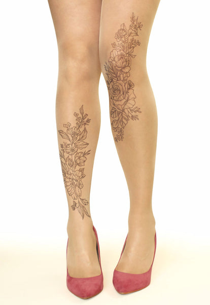 Vintage Floral Monochrome Flowers Tattoo Printed Tights/Pantyhose