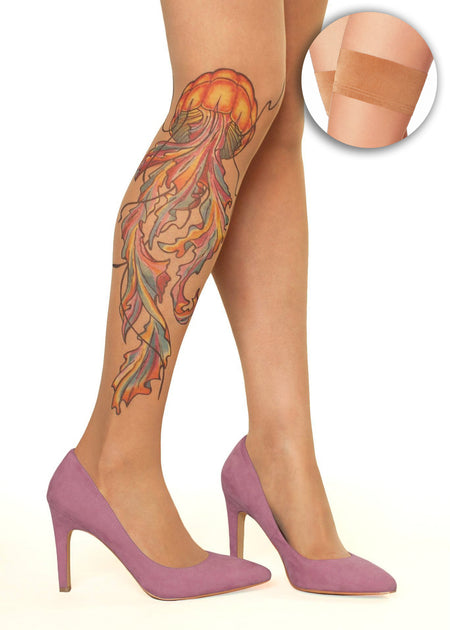 Koi Fish & Dragon Tattoo Sheer Hold-Ups