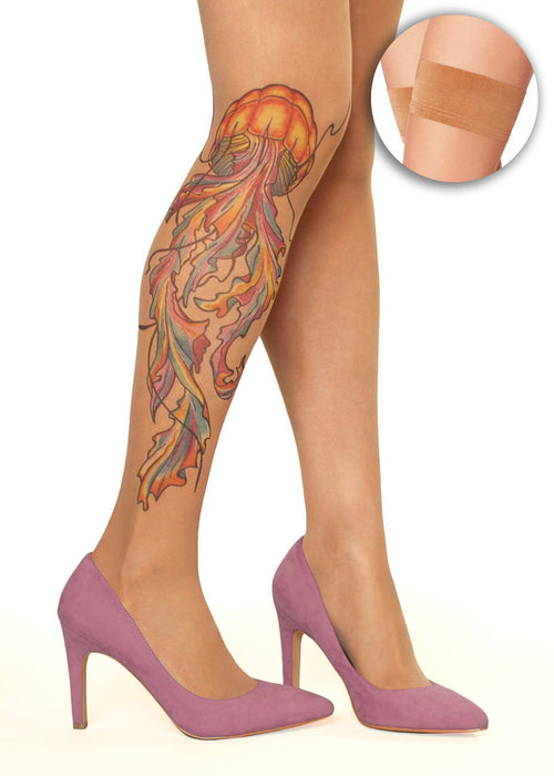 Watercolour Jellyfish Tattoo Printed Sheer Hold-ups, Tights & Pantyhose