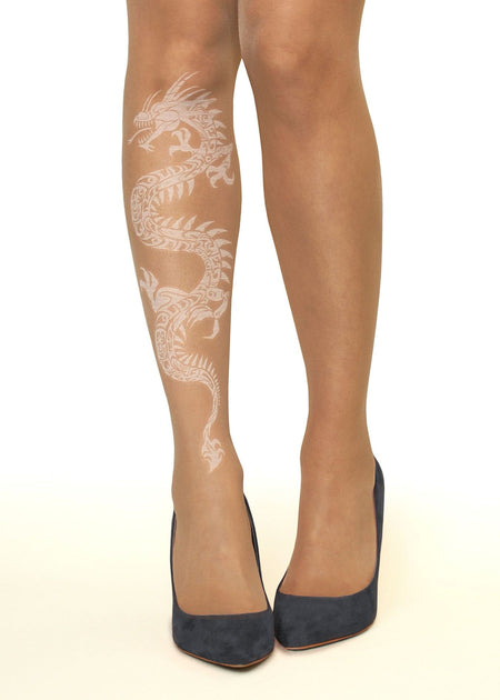 Peacock Charm Tattoo Sheer Tights